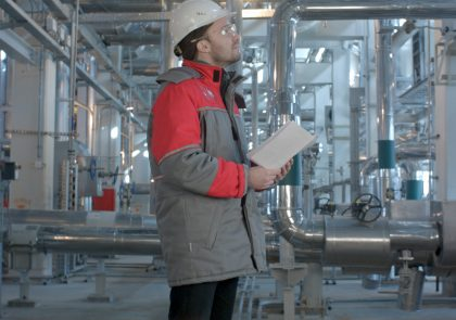 Mechanical inspector does inspection on a plant. Professional shot on